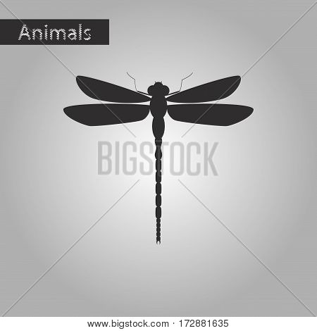 black and white style icon of dragonfly