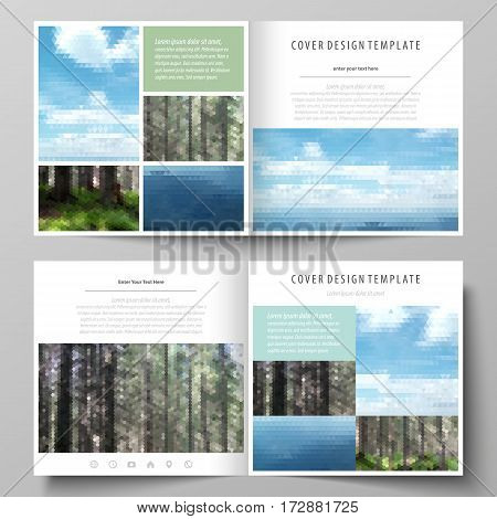 Business templates for square design bi fold brochure, magazine, flyer, booklet or annual report. Leaflet cover, abstract flat layout, easy editable vector. Colorful background made of triangular or hexagonal texture for travel business, natural landscape