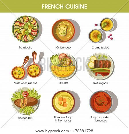 French cuisine icons for restaurant menu template. Vector traditional dishes of France ratatouille, onion soup and mushroom julien, omelet or mignon filet and creme brulee pastry dessert