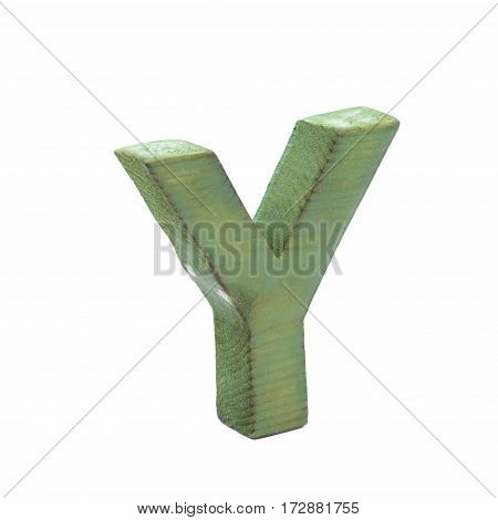 Single sawn wooden letter Y symbol coated with paint isolated over the white background
