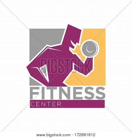 Fitness center or gym club sport logo template. Vector muscle man workout with barbell and dumbbell in hand