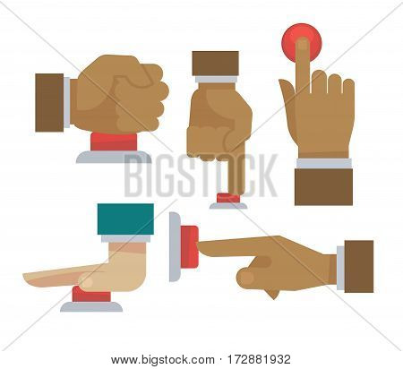 Hand and finger pushing or pressing red button. Vector isolated flat icons set side, front and upper view. emergency or threat danger concept