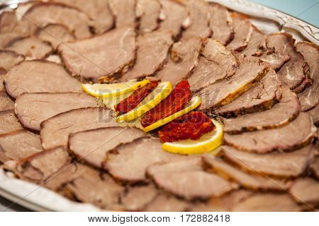 sliced boiled meat