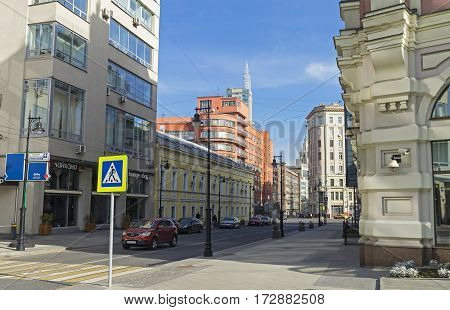 MOSCOW RUSSIA - OCTOBER 2 2016: The combination of different styles of architecture in Moscow. The intersection of Myasnitskaya Street and the Garden Ring.