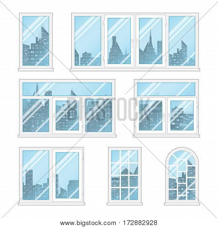 Set of transparent windows with opacity blue glass and city buildings. White frame and different shapes. Realistic vector illustration.