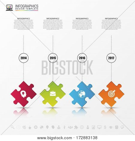 Modern puzzle infographic concept. Four steps. Vector illustration