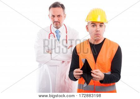 Constructor Showing His Empty Wallet With Doctor Looking Mad