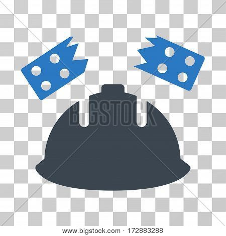 Brick Helmet Accident vector pictograph. Illustration style is flat iconic bicolor smooth blue symbol on a transparent background.