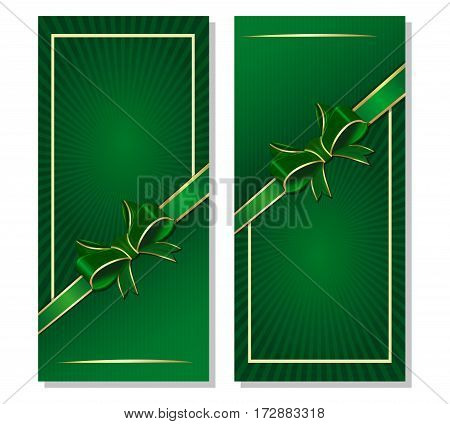 Green flyers set for St. Patrick's Day and other festive events. Retro background with ribbon and bow. Vector illustration
