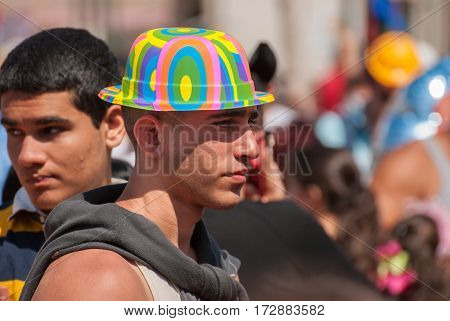 Jewish Young Man Celebrate The Purim Holiday At Street Event
