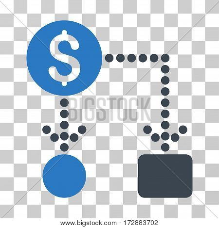 Cashflow vector pictogram. Illustration style is flat iconic bicolor smooth blue symbol on a transparent background.