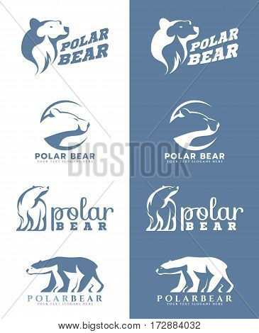 White and soft blue Polar bear logo vector art design