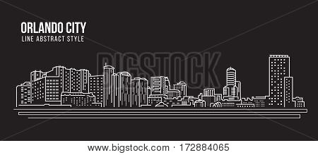 Cityscape Building Line art Vector Illustration design - Orlando city