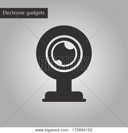 black and white style icon of computer Webcam