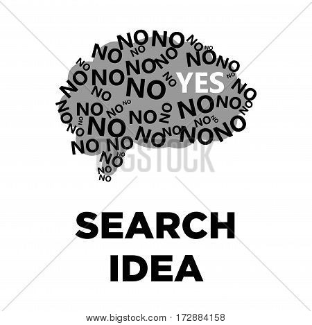 Brain search idea creative logo with yes and no word cloud tags. Smart intelligence and thinking concept vector template
