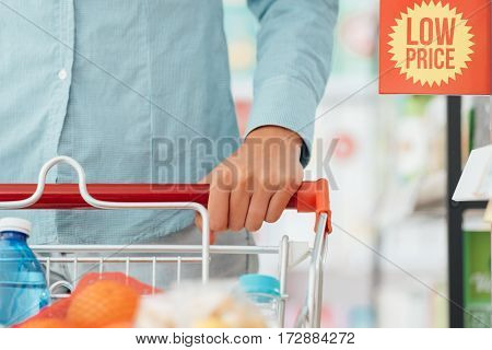 Woman Pushing A Shopping Cart