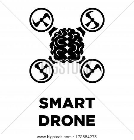 Brain drone creative logo in form of quadcopter. Smart artificial intelligence control and thinking concept vector template