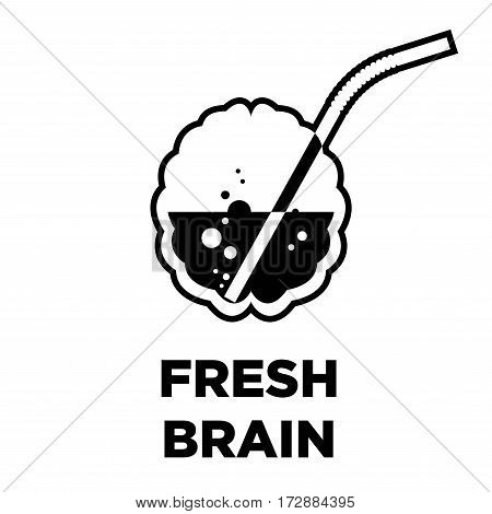 Fresh brain creative logo of bubbling new idea cocktail. Smart intelligence innovative thinking source concept vector template