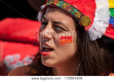 Jewish Young Beautiful Girl Celebrate The Purim Holiday At Street Event