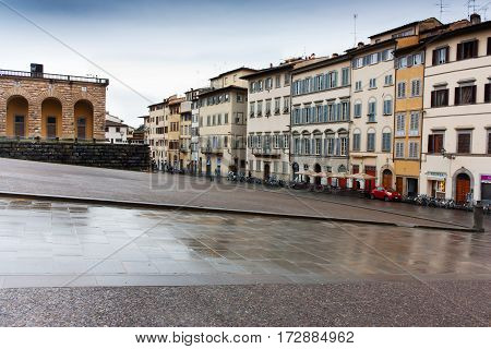 FLORENCE ITALY - FEBRUARY 06 2017:piazza de pitti florence italy (Firenze)