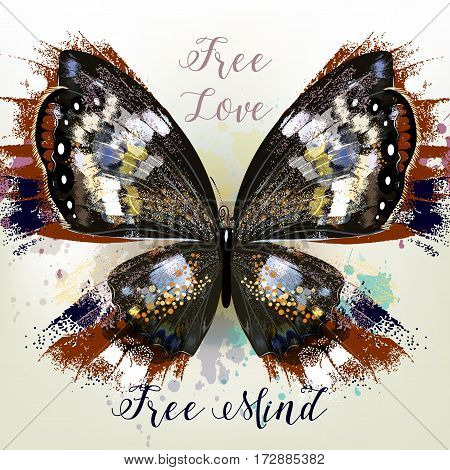 Fashion conceptual background with vector realistic butterfly free love free mind
