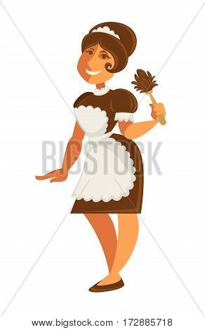 Maid or housekeeper woman in apron dress. Hotel room service or cleaning house parlormaid profession worker. Vector isolated flat icon
