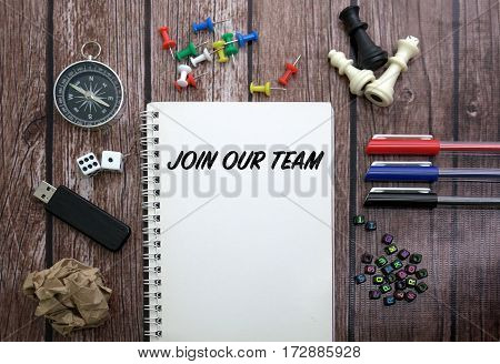 JOIN OUR TEAM CONCEPT ON NOTEBOOK WITH STATIONERY