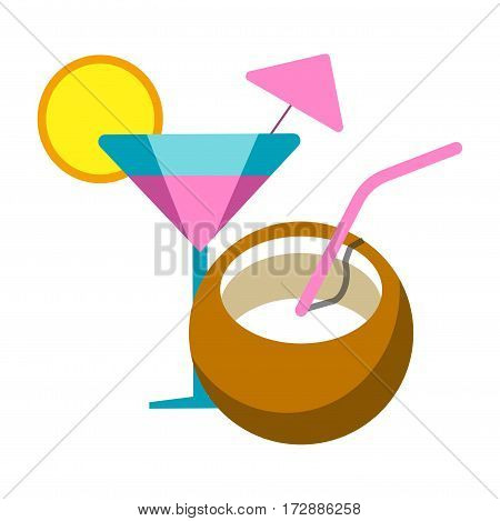 Exotic cocktails vector flat icon. Summer vacation relax or tourism and tropical coconut paradise resort relaxation adventure