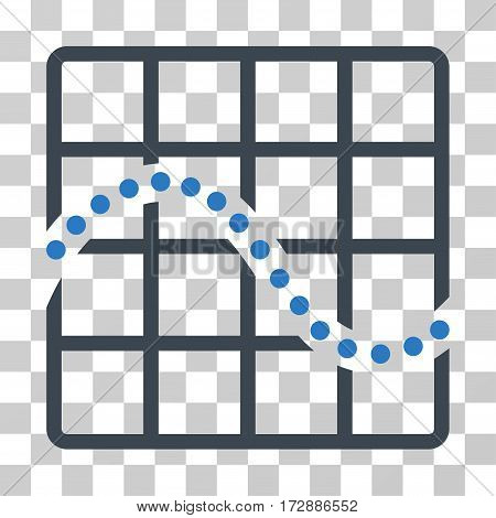 Function Chart vector pictogram. Illustration style is flat iconic bicolor smooth blue symbol on a transparent background.