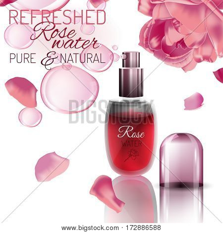 Rose water spray bottle with an open lid and pink flowers on a white background. Premium cosmetic or perfumery ad concept. Vector illustration.