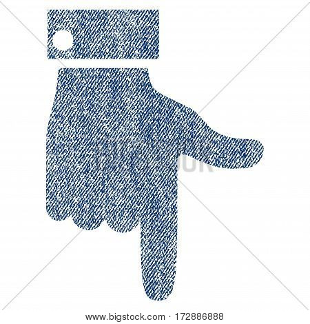 Hand Pointer Down vector textured icon for overlay watermark stamps. Blue jeans fabric vectorized texture. Symbol with unclean design. Blue ink rubber seal stamp with fiber textile structure.