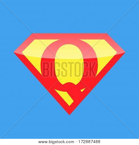 Superhero logo with the letter Q. Vector illustration