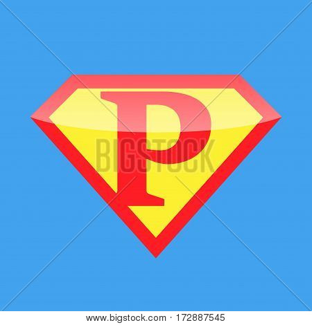 Superhero logo with the letter P. Vector illustration