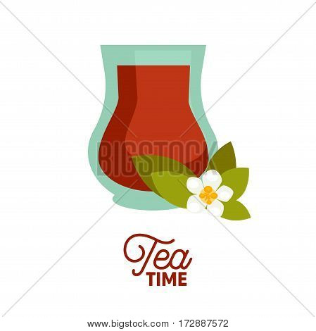 Turkish tea in traditional glass cup isolated on white. Vector illustration in flat design of red non alcoholic beverage in glass and white flower with green leaves near. Tea time template picture