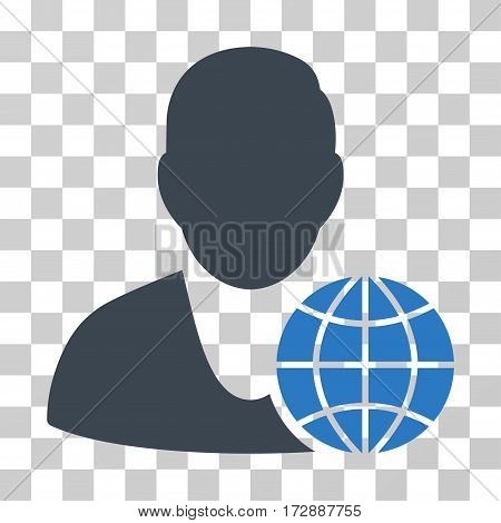 Global Manager vector pictograph. Illustration style is flat iconic bicolor smooth blue symbol on a transparent background.