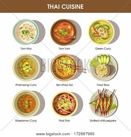 Thai food cuisine for restaurant menu. Thailand traditional meal dishes of spicy vegetables soup Tom Yum Kha, Pad curry noodles and chili meat rice. Vector icons