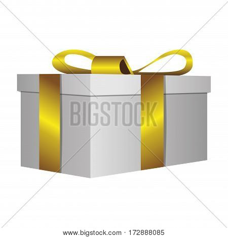 white gift short boxes with gold ribbon icon, vector illustration design