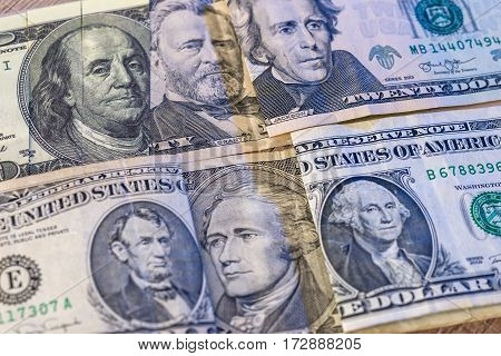 usa dollar denomination close up. Money background.