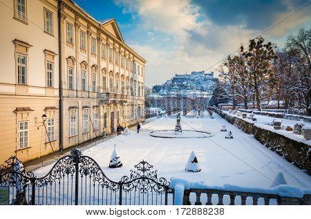 Mirabell Gardens With Hohensalzburg Fortress In Winter, Salzburg, Austria