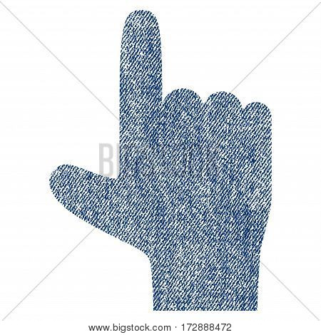 Hand Pointer Up vector textured icon for overlay watermark stamps. Blue jeans fabric vectorized texture. Symbol with dust design. Blue ink rubber seal stamp with fiber textile structure.