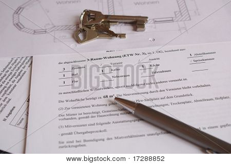 german tenancy agreement with groundplan and key poster