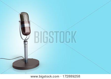 Vintage Silver Microphone On Blue Background 3D Render Image