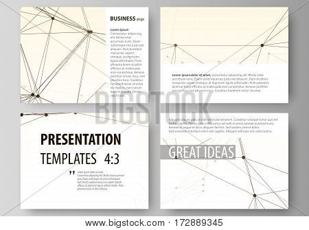 Set of business templates for presentation slides. Easy editable abstract vector layouts in flat design. Technology, science, medical concept, dots and lines, cybernetic digital style. Lines plexus