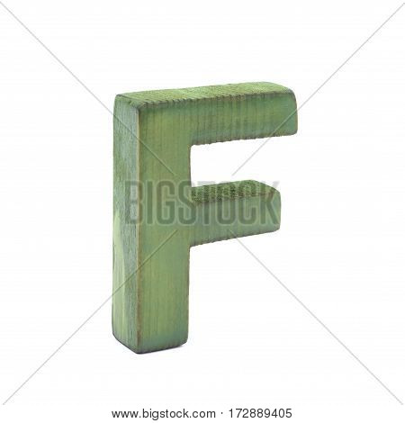 Single sawn wooden letter F symbol coated with paint isolated over the white background
