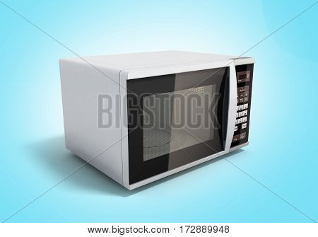 Microwave Stove On Blue Background 3D Illustration