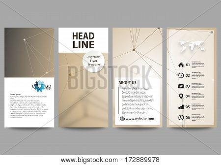 Flyers set, modern banners. Business templates. Cover design template, easy editable abstract vector layouts. Technology, science, medical concept. Golden dots and lines, cybernetic digital style. Lines plexus.