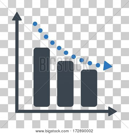 Negative Trend vector pictogram. Illustration style is flat iconic bicolor smooth blue symbol on a transparent background.