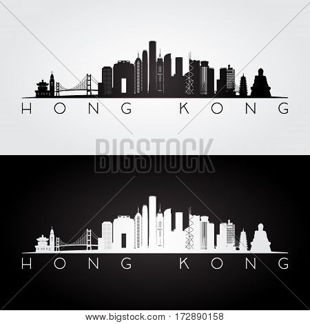 Hong Kong skyline and landmarks silhouette black and white design vector illustration.