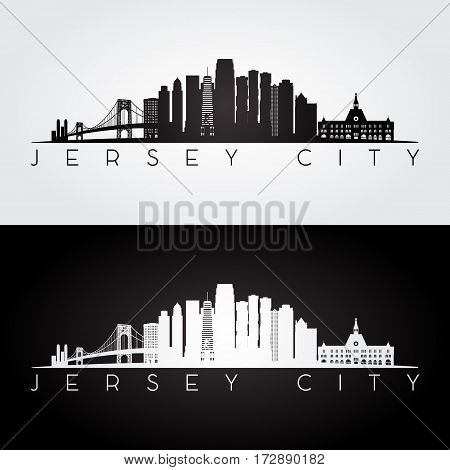 Jersey City USA skyline and landmarks silhouette black and white design vector illustration.