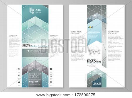 Blog graphic business templates. Page website design template, easy editable abstract vector layout. Geometric background, connected line and dots. Molecular structure. Scientific, medical, technology concept.